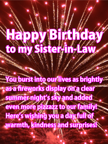 Pink Fireworks - Happy Birthday Card for Sister-in-Law