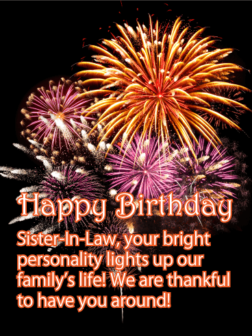Bright Personality - Happy Birthday Card for Sister-in-Law