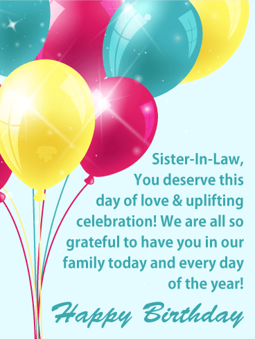 Uplifting Balloons - Happy Birthday Card for Sister-in-Law