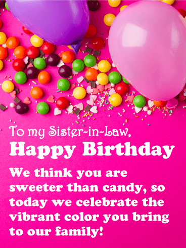 Sweet as Candy - Happy Birthday Card for Sister-in-Law