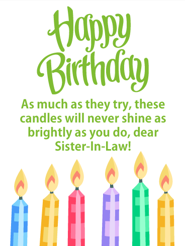 Bright Candles - Happy Birthday Card for Sister-in-Law