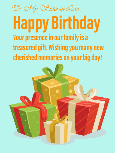 Precious Gifts - Happy Birthday Card for Sister-in-Law