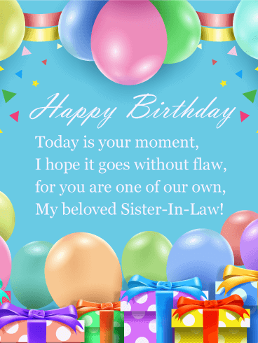 Beloved Poem Happy Birthday Card For Sister In Law