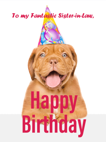 Cheerful Puppy - Happy Birthday Card for Sister-in-Law