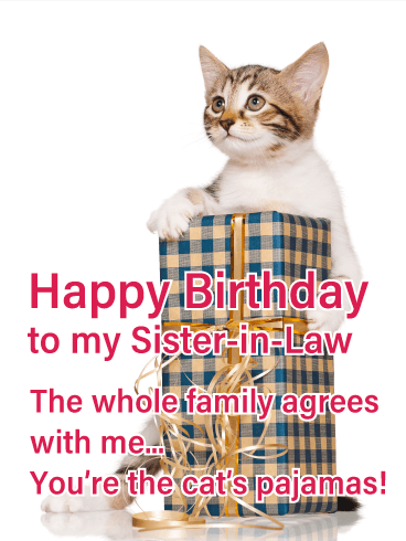 Cat's Pajamas - Happy Birthday Card for Sister-in-Law
