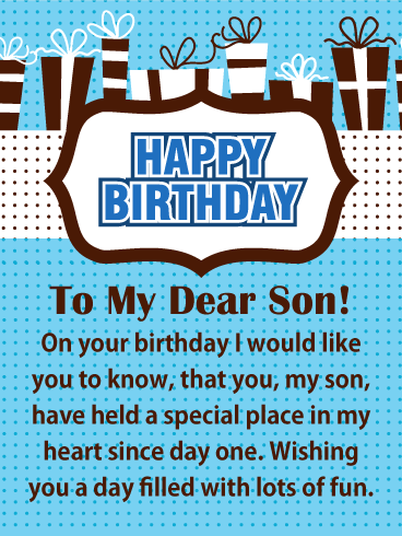 Special Place in My Heart - Happy Birthday Card for Son