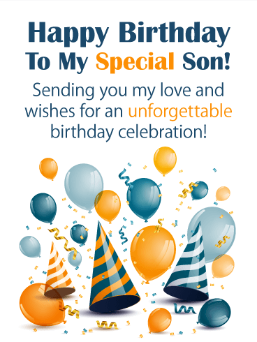 Festive Party Hats & Balloons - Happy Birthday Card for Son