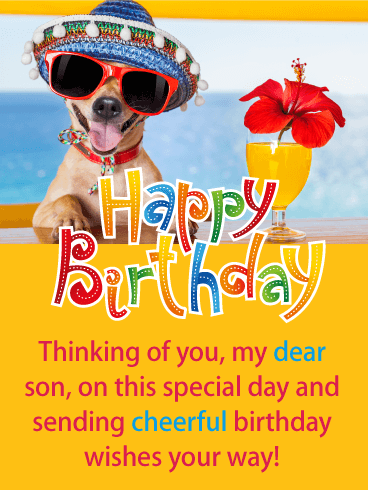 Festive Dog -  Happy Birthday Card for Son