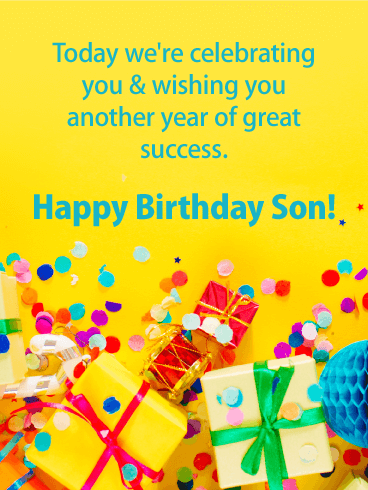 We're Celebrating! Happy Birthday Card for Son