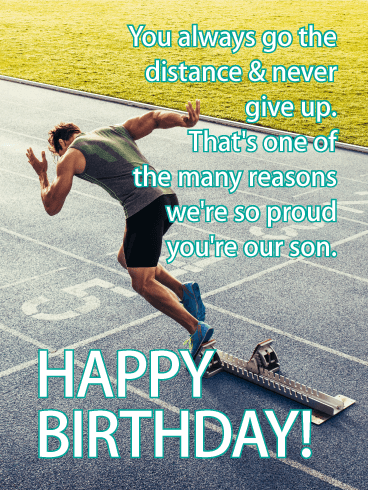 Never Give up! Happy Birthday Card for Son