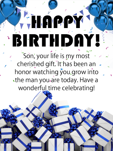 Blue Present Pile - Happy Birthday Card for Son