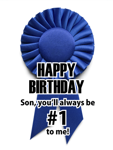 Blue Ribbon - Happy Birthday Card for Son