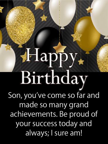 gold white balloons happy birthday card for son birthday