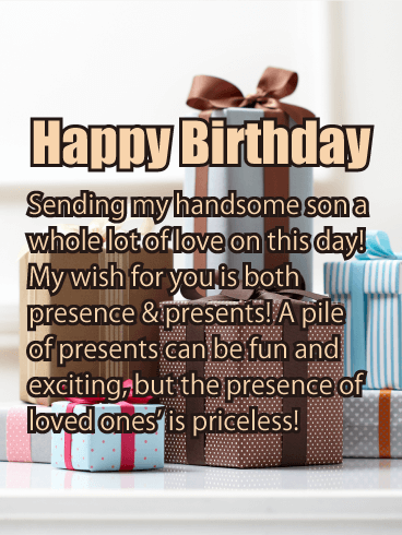 Presence & Presents - Happy Birthday Card for Son
