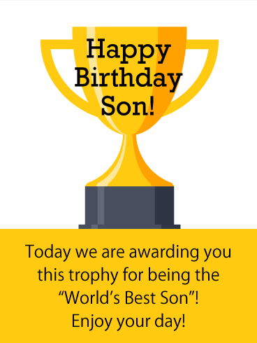 Trophy Cup - Happy Birthday Card for Son
