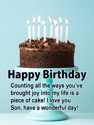 Marvelous Chocolate Cake Happy Birthday Card For Son Birthday Greeting Funny Birthday Cards Online Overcheapnameinfo