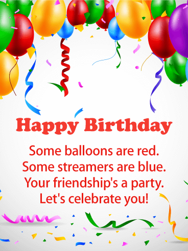 Streamers and Balloons - Birthday Card for Everyone