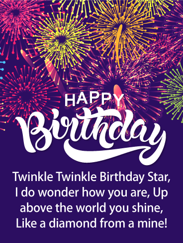 Shining Birthday Star - Happy Birthday Card for Everyone
