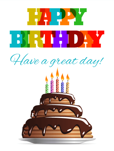 Chocolate Cake Happy Birthday Card for Everyone