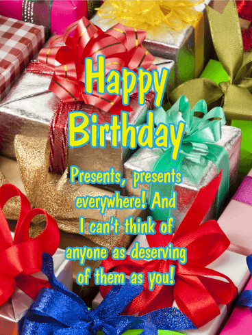 Presents Everywhere - Happy Birthday Card