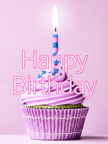 Purple Cupcake Happy Birthday Card