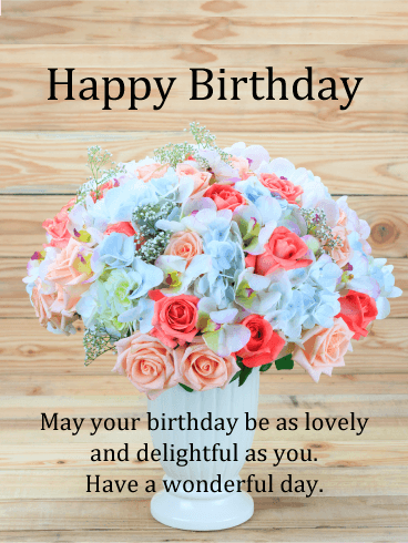 Lovely & Delightful - Happy Birthday Card
