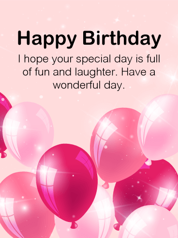 Full of Fun - Pink Balloon Happy Birthday Card