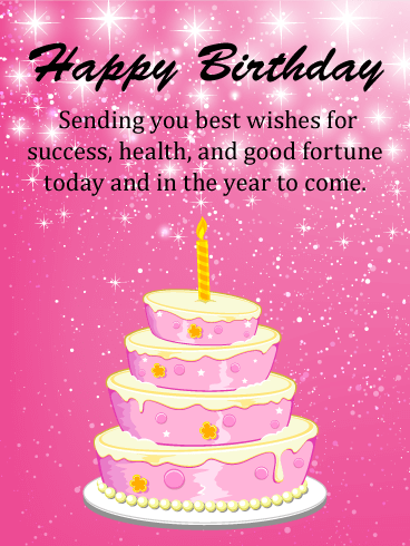 Best Wishes - Pink Happy Birthday Card
