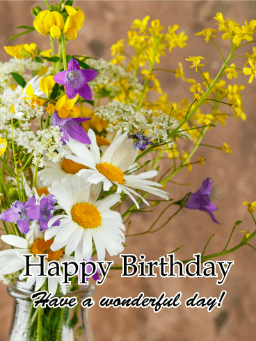 Beautiful & Colorful Flower Happy Birthday Card