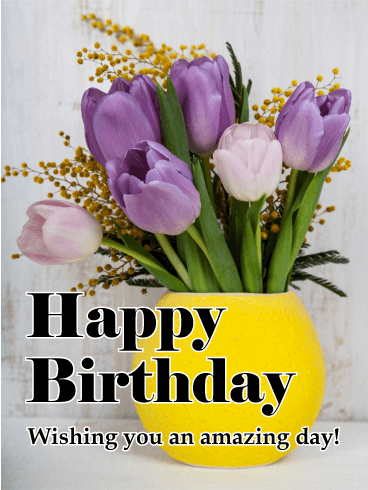 Purple Tulip Happy Birthday Card