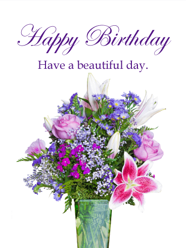 Astonishing Flower Happy Birthday Card