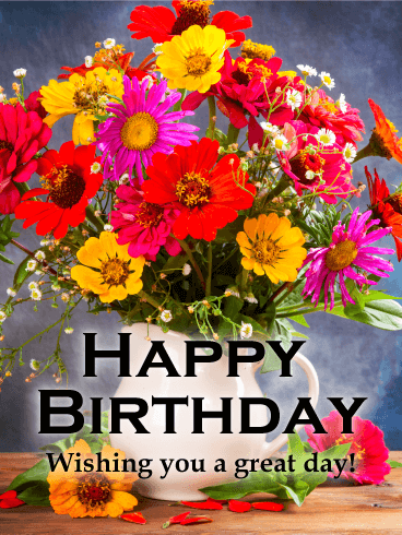 Magnificent Flower Happy Birthday Card