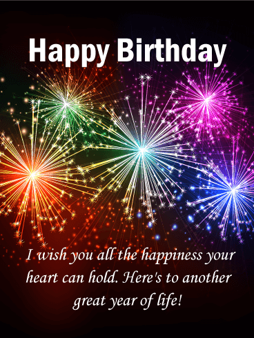 wishing you all the happiness colorful happy birthday card