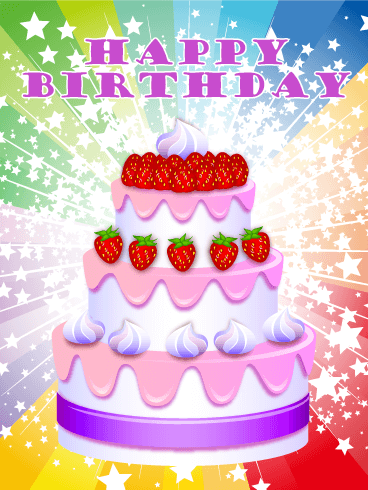 Colorful Birthday Cake Cards