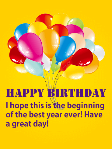 The Best Year Ever! Yellow Happy Birthday Card