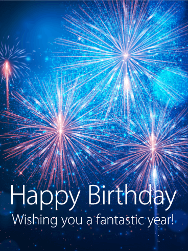 Splendid Blue Fireworks Happy Birthday Card