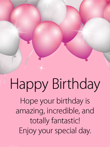Shining Pink White Birthday Balloon Card