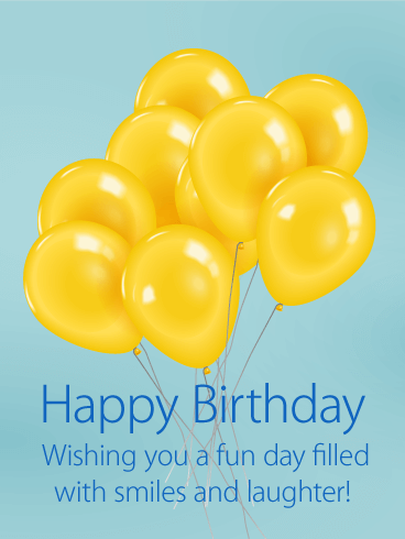 Joyful Yellow Balloon Happy Birthday Card