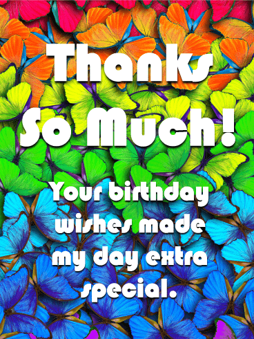 Butterfly Thank You Card for Birthday Wishes