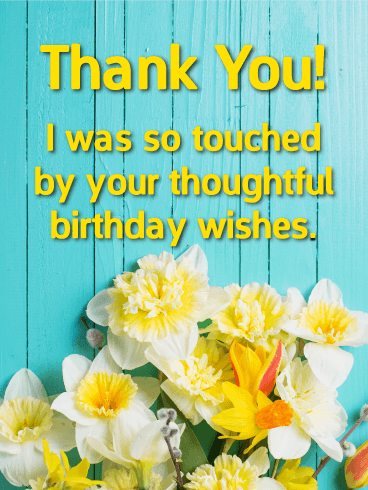 Flower Thank You Card For Birthday Wishes