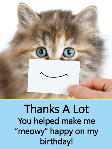 Cat Thank You Card For Birthday Wishes