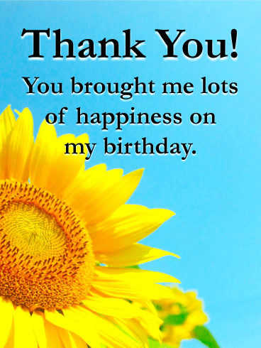 Sunflower Thank You Card for Birthday Wishes