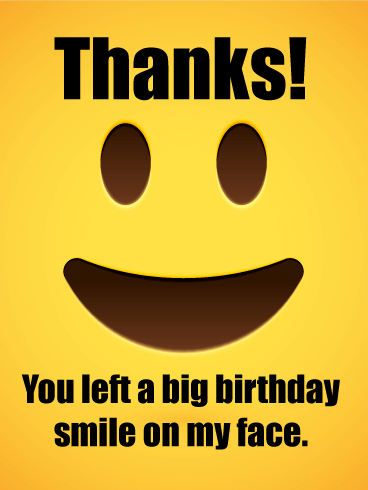 Smiling Face Thank You Card For Birthday Wishes
