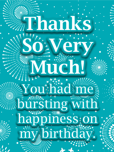 Fireworks Thank You Card for Birthday Wishes