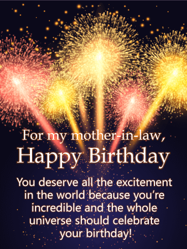 Stunning Fireworks - Happy Birthday Card for Mother-In-Law