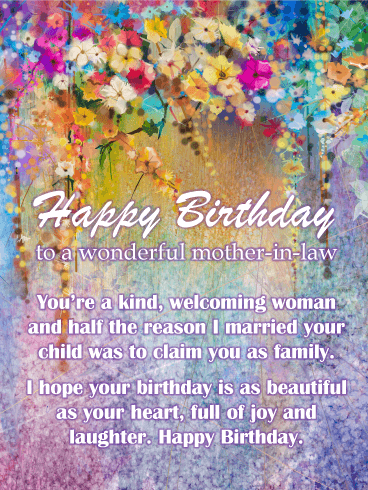 Watercolor flowers - Happy Birthday Card for Mother-In-Law