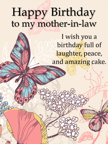 Beautiful Butterfly - Happy Birthday Card for Mother-In-Law