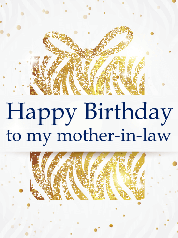 Glittering Gift Box - Happy Birthday Card for Mother-In-Law