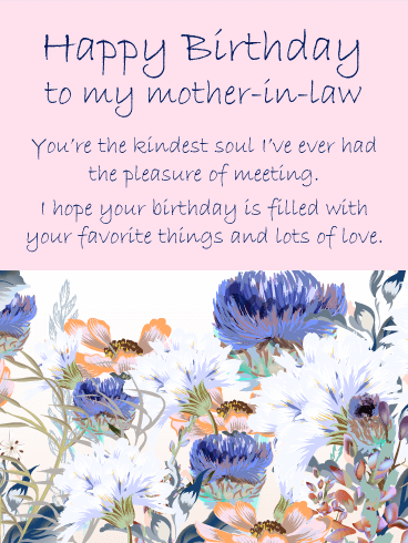 Flourish Flowers Happy Birthday Card For Mother In Law Birthday Greeting Cards By Davia