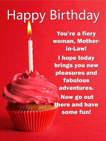 Deep Red Cupcake - Happy Birthday Card for Mother-In-Law